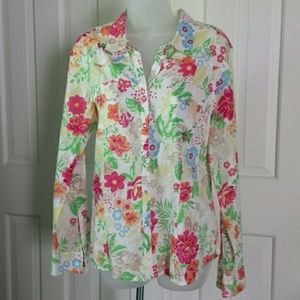 Izod floral snap button top